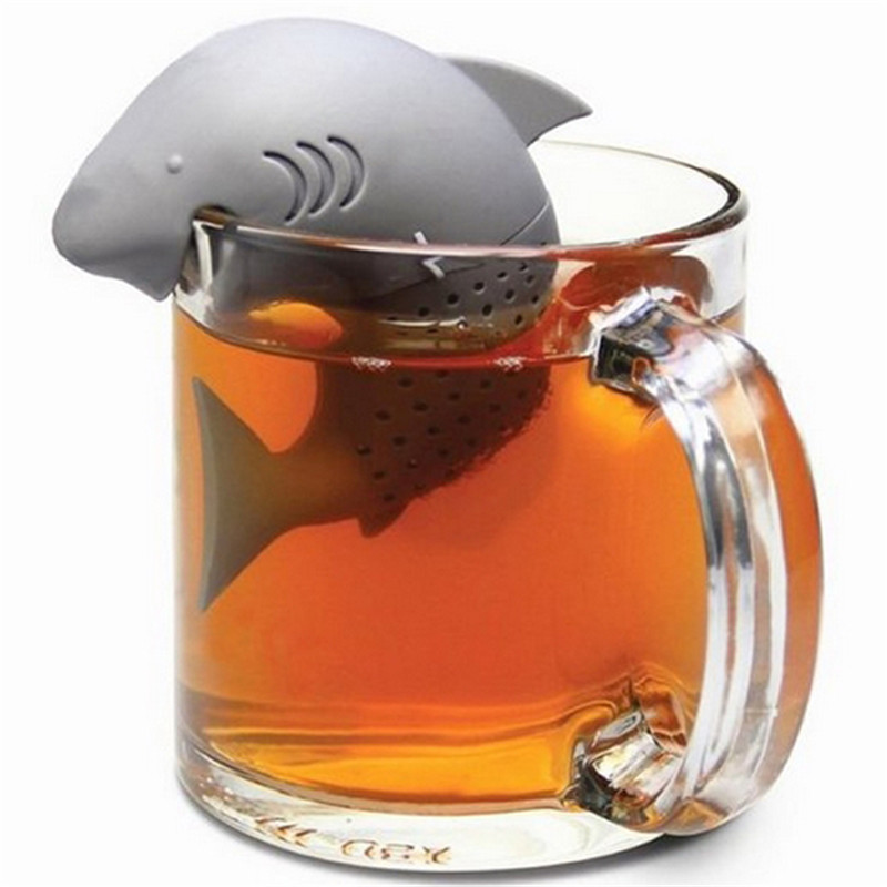 New-1pcGrey-Silicone-Tee-Balls-Shark-Infuser-Tea-Leaf-Strainer-Herbal-Spice-Filter-Diffuser-Coffee-Tea