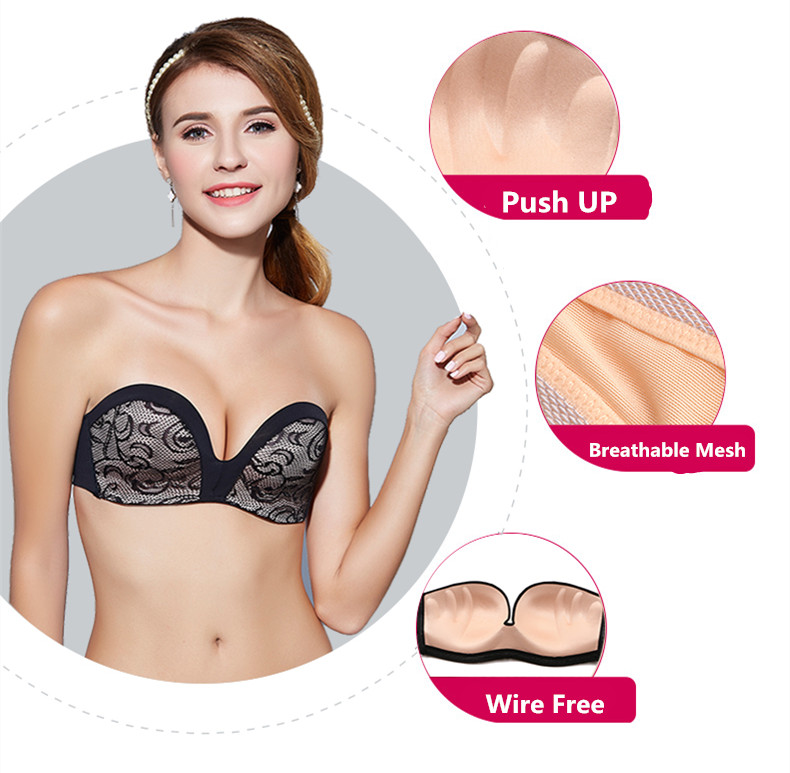 17 New Sexy Lace Invisible Bra Finger Shape Design Push Up Anti-slip Strapless Bras For Women Bralette Seamless Elastic Bra 3