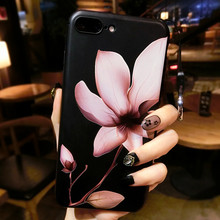 Lotus flower 3D Relief Silicone Case for iphone 6s 6splus Case Floral case For iphone X 6 6plus 7 7plus 8 8plus(China)