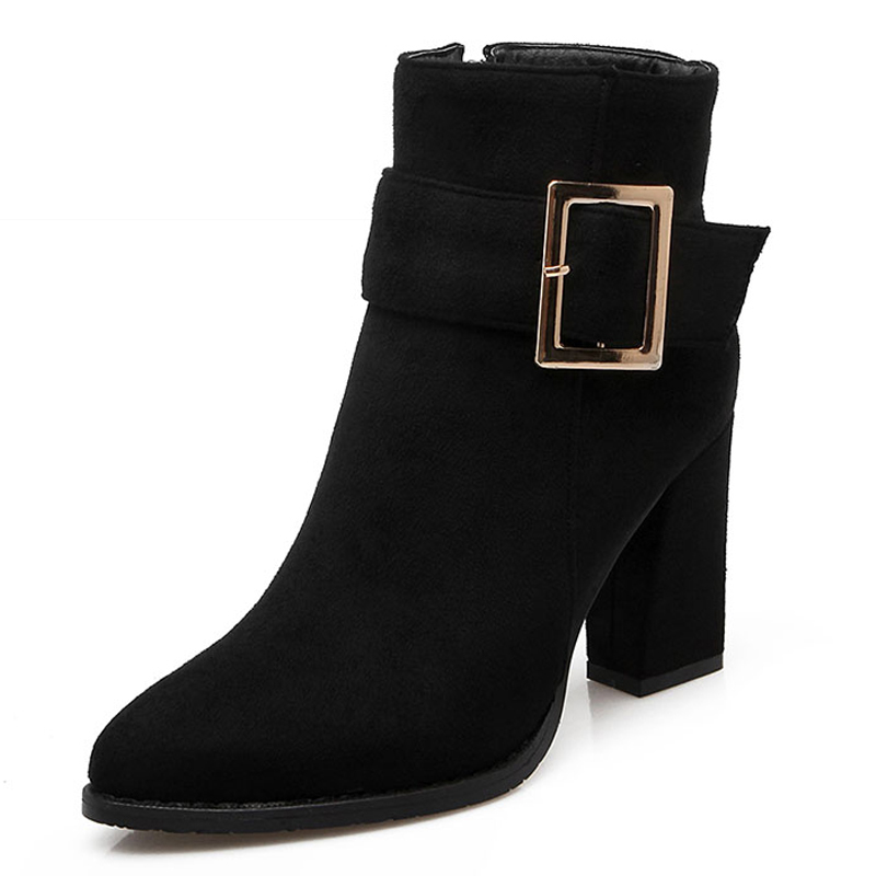Big Size 34-43 Thick High Heels Shoes Womens Winter Boots Fashion Buckle Charm Fall Ankle Boots Solid Noble Shoes Woman<br><br>Aliexpress