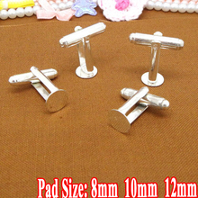 Cuff links 50pcs Wholesale Silver Plated 8/10/12mm Round Flat Pad French Cufflinks Blank Base for DIY Jewelry Making