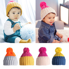 Kids Toddler Baby Girl Boy Infant Winter Warm Crochet Ball Hat Beanie Ski Cap -P101