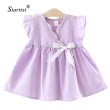 Startist Newest Baby Girl Dress Sleeveless Korea Style Bow Dress Baby Girl Solid Newborn Baby Dress Children Girl Clothing