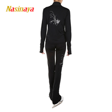 Customized Clothes Ice Skating Figure Skating Suit Jacket And Pants Rolling Skater Warm Fleece Adult Child Girl White Rhinestone(China)