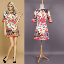 TOP Quality 2016 Summer Runway Dress Fashion Women's Sexy Short Sleeve Floral Fan Print Dress MY