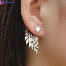 SUSENSTONE Women's Cool Jewelry Angel Wings Rhinestone Alloy Earrings(China)