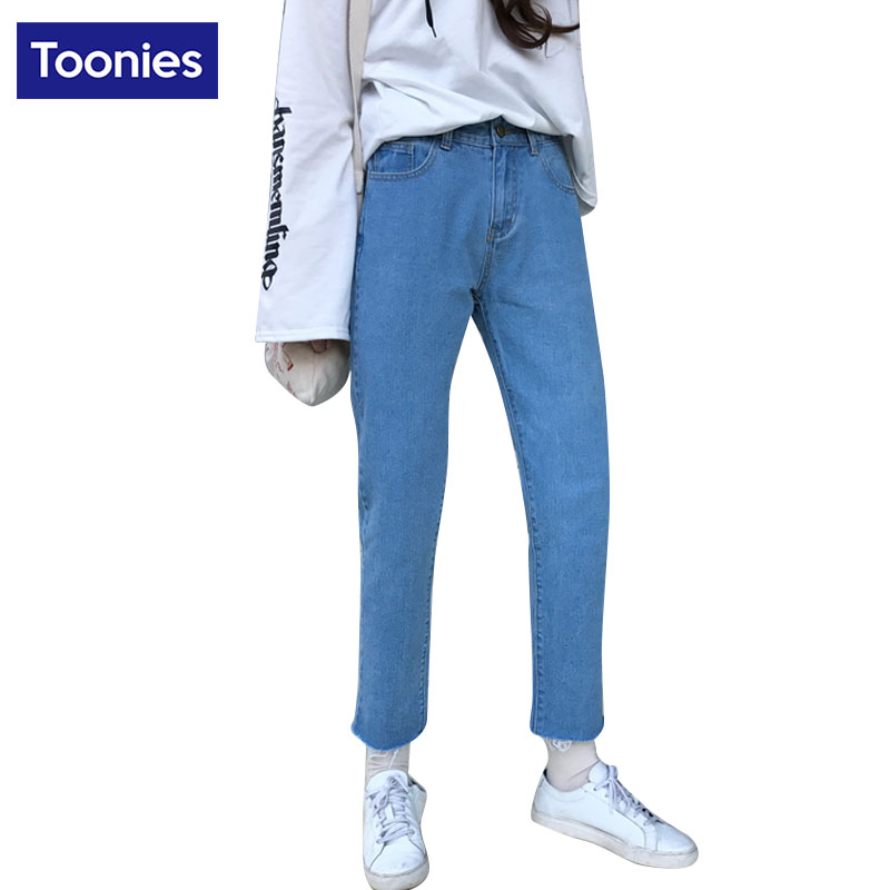 Vintage Personality Denim Pants High Waist Loose Straight Jeans Pants Solid Color Female Casual Trousers With Short Tassel StyleОдежда и ак�е��уары<br><br><br>Aliexpress