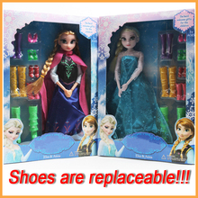 Anna And Elsa Dolls Anime Princess Action Figure Toys Scale Model Retail Pack 8 Pairs Replaceable Shoes Gifts For Gilrs Children