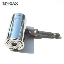 Binoax 2 unids/set Magic Spanner Grip Multi Function Universal Ratchet Socket 7-19mm Power Drill Adapter Car Hand Tools Kit de reparación(China)