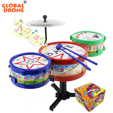 Global Drone Excellent Musical Toddler Toys Jazz Drum Rock Set Music Educational Toy Kids Early Learning Musical Drum Toy
