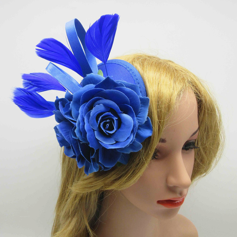 New Style Party Rose Flower Fascinator Base For Wedding Occasion Base Hats Bridal Feather Hair Fascinator Hair Accessories(China (Mainland))