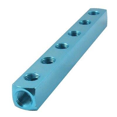 Turquoise Color 6 Way Air Hose Inline Aluminum Manifold Block Splitter<br><br>Aliexpress