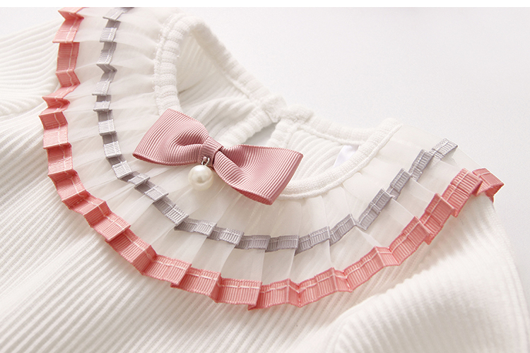 2018 Spring Autumn 100% Cotton White Grey Pink Solid Color Long Sleeve Pleated Turn-Down Collar Neck T Shirt For Girls 10 Years (22)