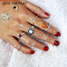 QIHE JEWELRY 9pcs/set Imitation Moonstone Ring Tribal Boho Stackable Ring Delicate Jewelry For Women