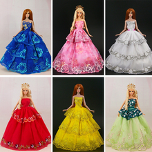 New arrival 15 items = 5 Wedding Dress Princess Gown +5Pairs Shoes + 5 accessory Clothes For Barbie Doll  good gift for baby
