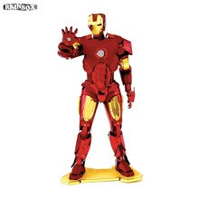 Finger Rock 3D Metal Puzzles Assemble DIY Colour IRON MAN Model Toys New Year Gift WJ162(China)