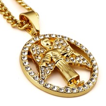 Men Women HipHop Crystal Chains Jewelry Gifts Iced Out bling pendants Round Angel Wings    necklaces Fashion trend