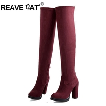 REAVE CAT New Plus size 32-43 Women boots Autumn Winter High Knee boots Sapatos femininos High heels Flock Zipper Black QH3221