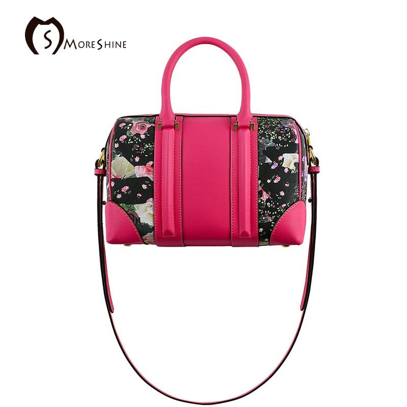 MORESHINE brand women Genuine leather handbag with printing flower bag Female Panelled Boston shoulder bag Fashion tote<br><br>Aliexpress