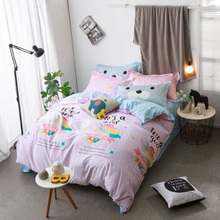 Cartoon Unicorn Print Pink Bedding Sets Queen Full Double Twin Size New Cotton Bedlinens Duvet Cover Sheet Pillow Cases