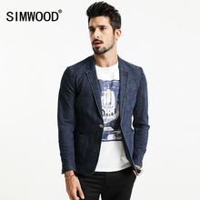 SIMWOOD 2017 Autumn  Denim Blazers Men Slim  Fit Cotton Dark Wash White Dot  Suits Casual Fashion Coats Brand Clothing XZ6119