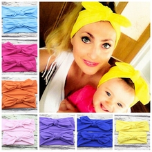 One Set Children Headband Hair Head Band Bow Knot Headbands Baby Hair Accessories Turban baby and Mommy Cotton Headwrap H148(China)