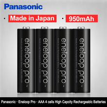 Panasonic  pro High Capacity 950mAh 4pcs/pack batteries Made in Japan Free Shipping NI-MH Pre-charged Rechargeable AAA battery
