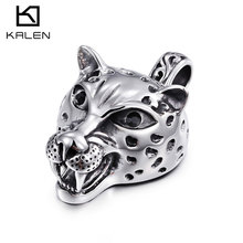 2017 Kalen New Rock Tiger Necklace  Stainless Steel Animal Tiger Head Pendant Long Chain Necklace Cool Male Accessories Gifts