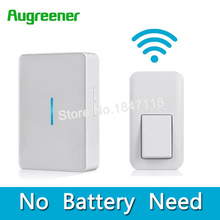 AuGreener No Battery Need Waterproof Doorbell 36 Melody Home Remote LED Wireless Door Bell 1 Doorbells Push Button+2 Receivers(China)