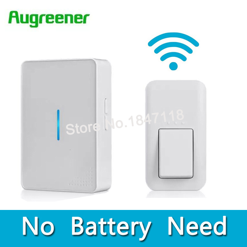 AuGreener No Battery Need Waterproof Doorbell 36 Melody Home Remote LED Wireless Door Bell 1 Doorbells Push Button+2 Receivers(China (Mainland))