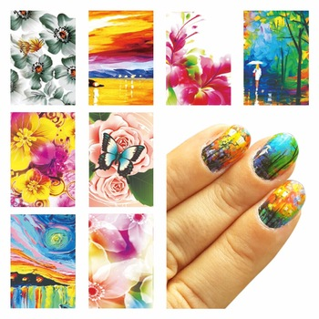 1 Sheet Optional Oil Painting Flower Design Water Decals Water Transfer Foils Nail Art Sticker Nails Decorations Tools