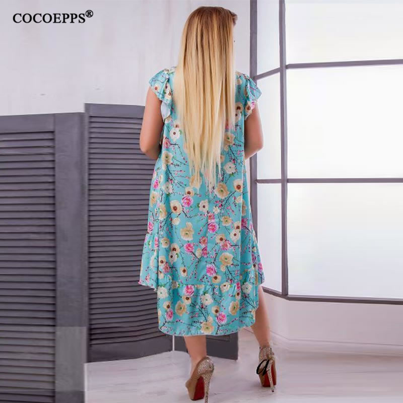 2018 L-6XL Summer Plus Size Women Dress Flower Print Large Size Fashion Dresses Casual Women Clothing Big Sizes Dress Vestidos 46