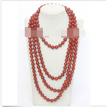 "FREE SHIPPING>>>natural 90"" 10mm round red sponge coral beads necklace"