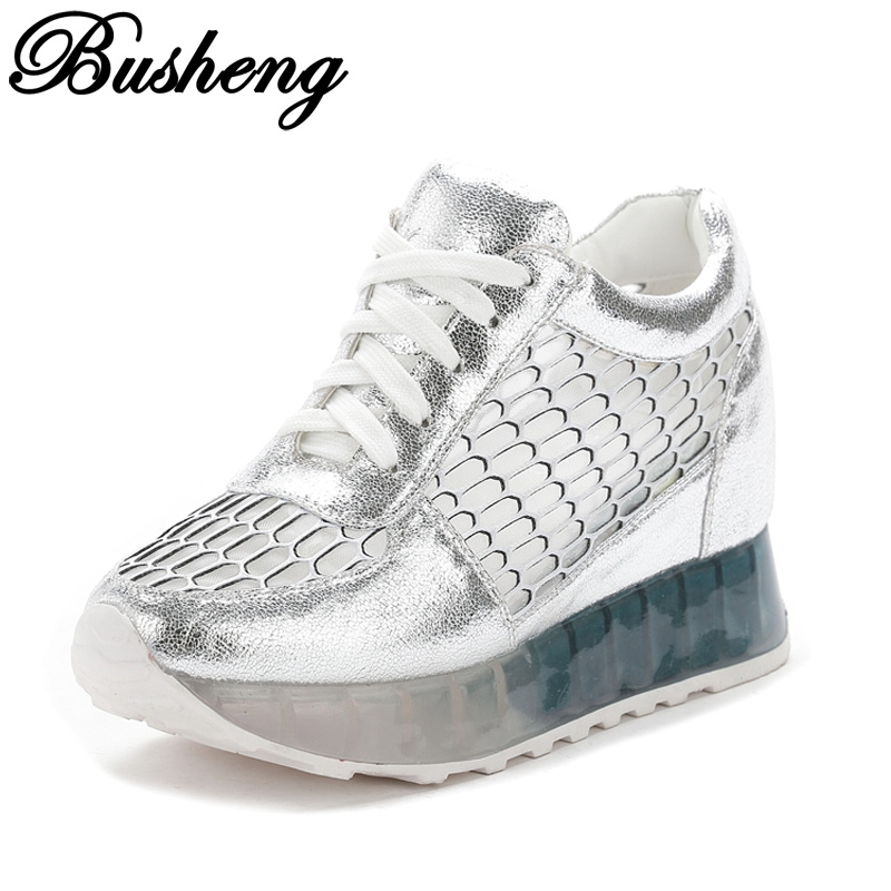 BUSHENG 2017 Fashion Casual Women Shoes Height Increasing Ladies Shoes Mesh Breathable Platform Shoes Lace-up Flat Female Shoes <br><br>Aliexpress