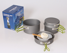 4pcs/set 2-3 person Outdoor Camping Cookware Set Picnic Bowl Pot Set DS301