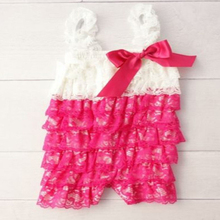 white hot pink Lace Petti Rompers Baby Cake Smash Ruffle Rompers 1st Birthday Outfit Photo Prop Baby Clothing(China)