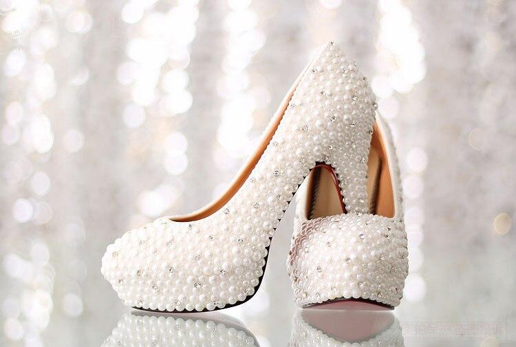 White HighHeel Bridal Dress Shoes Luxurious Imitation Pearl Rhinestone Wedding Shoes Platform Lady Formal Shoes Gorgeous Shoes<br><br>Aliexpress
