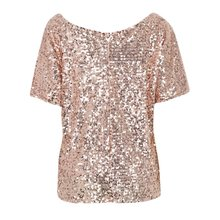 Summer Women Shiny Causal Sequin Top Tank Three Quarter Sleeve Blouse Bling Vest(China)