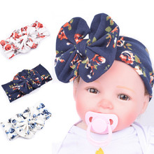 2017 Autumn Winter New Baby Infants headbands Toddler Girls cotton printed flower headwraps hairbands Baby large bow Turban