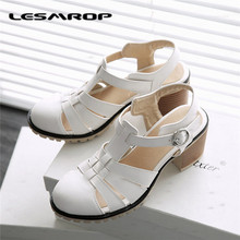 Large Size 35-43 Brand New Women's Shoes Soft-Soled Work Shoes With Thick With The T-Buckle Shoes Sandals Slim Was Thin #2739(China)