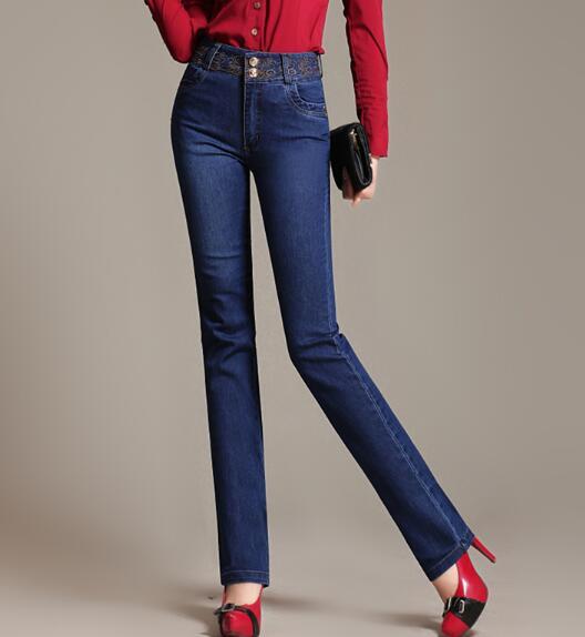 Embroidery denim jeans casual straight pants for women plus size high waist cotton blend autumn spring trousers female yyf0606Îäåæäà è àêñåññóàðû<br><br>