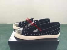 Real Picture Black Shoes Flat Beaded Low Top Shoes Round Toe