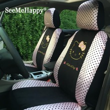 Cute pink dots car styling Universal Hello Kitty Car seat Covers cushion styling winter short plush car pad seat covers for car(China)