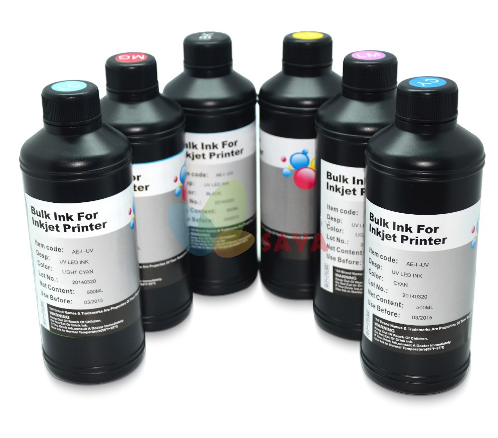 Hot 6x250ml White/C/M/Y/BK and cleaning solution for UV Ink for Epson Flatbed printer head,UV LED ink can print on everything<br><br>Aliexpress