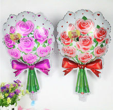 2pcs Romantic red pink Bouquet rose flowers foil balloons mariage wedding decoration Valentine's Day event & party supplies(China)