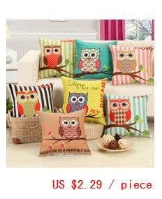 Hot sale 7 colors cartoon Lovely Owl decorative cushion covers for sofa car office Chair cushion cover 45x45cm pillow cover