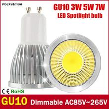 Super Bright GU10 LED Bulb 3W 5W 7W LED lamp light GU10 COB Dimmable GU 10 led Spotlight Warm/Cold White Free shipping(China)