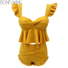 b3661180044d6 Bonitakinis Ruffled Two Piece Swimsuit Yellow Sweet Bathing Suits Small  Chest Push Up