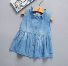 Denim Baby Girl Princess Dress Kid Baby Party Wedding Pageant Dresses girls Clothes(China)