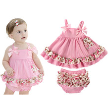 2017 Summer Baby Clothing Newborn Baby Girl Clothes Dress Infant Sling Bat Roupas Body Bebes Next Baby Dress 2 Pcs/set(China)